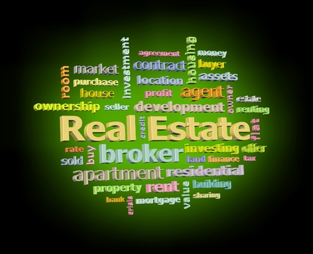 Real estate color word cloud on black background with blue glowing light facing right Stock Photo