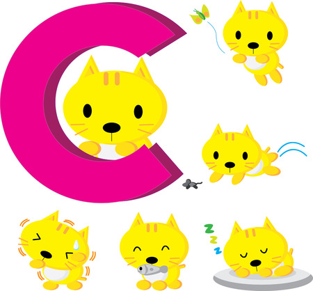 Action of baby cute cat. Vector