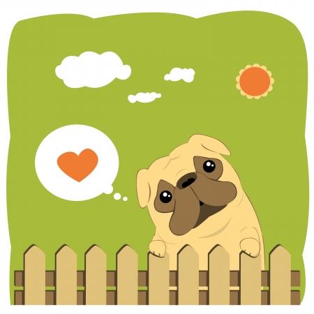Cartoon Illustration of a Cute Pug Dog Illustration
