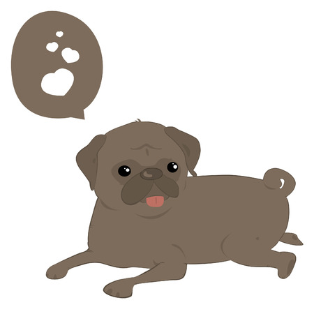 A cute illustration of a pug dog sitting in white background  Illustration