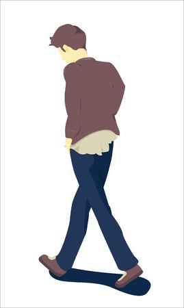 sullen: One man walking looking down Illustration