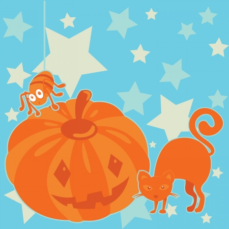 Illustration of Halloween pumpkin with spider and cat