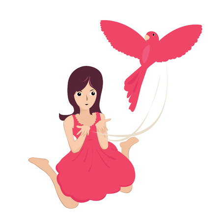 releasing: Illustration of a young girl releasing a bird