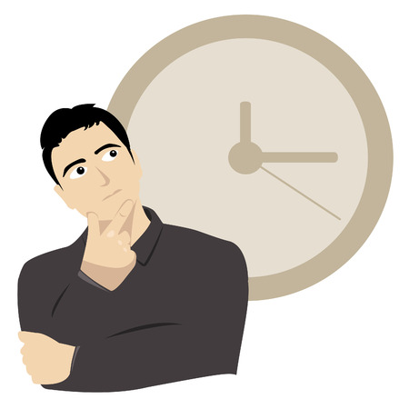 Illustraion of a young man thinking about time Illustration
