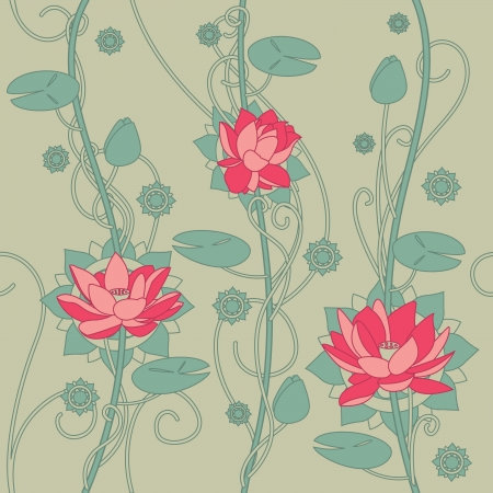 Seamless lotus flower background