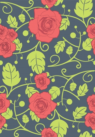 Vector seamless background with red roses