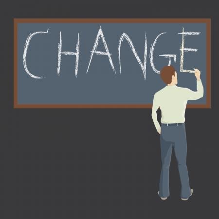 Illustraion of a man and a blackbord writing word  Change  Illustration