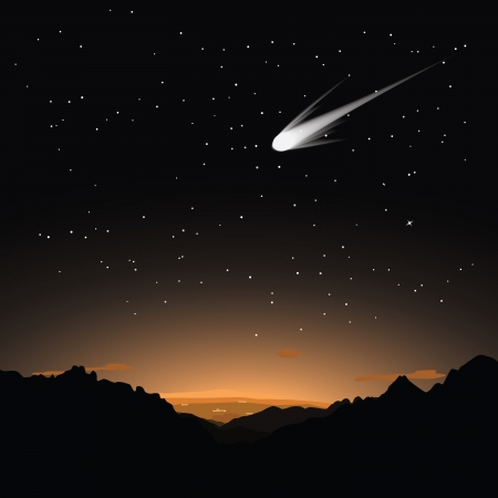 Illustration of a bright comet flying in the starry evening sky