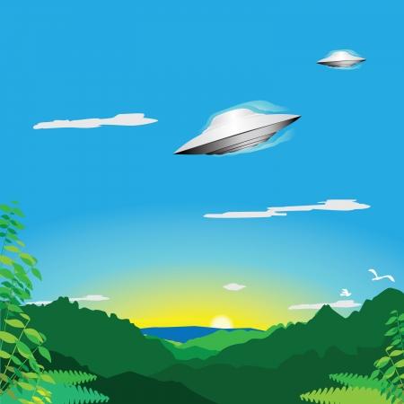 Alien spacecraft over jungle