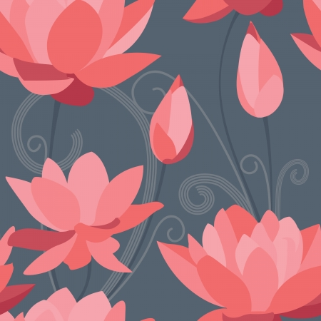 Red lotus seamless background Vector