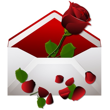 rose petal: love envelope with red rose