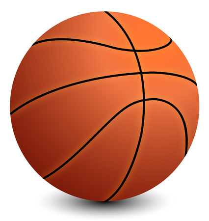 basketball with shadow on the white background Vector