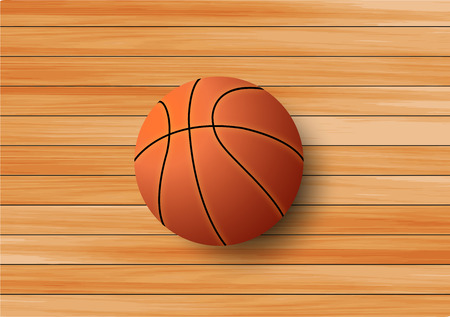 Basketball on the hardwood floor Vector