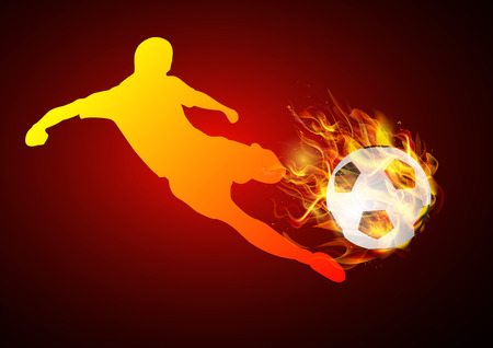 somersault: soccer player kicking with ball fire