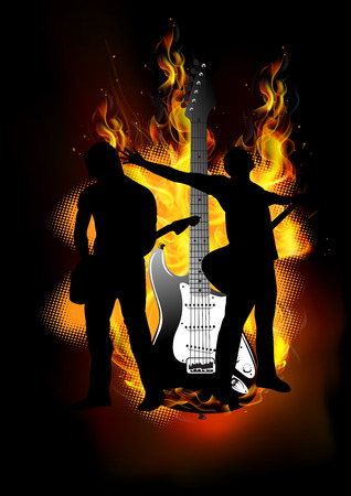 duo: Duo guitarist with fire background guitar burning vector