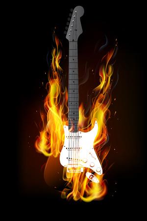 gutar: guitar fire burning background vector