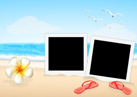 long weekend: due cornice con sandali e orchidea sulla spiaggia vettoriale Vettoriali