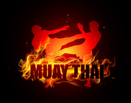 action girl: Thai boxing is kicking with muay thai fire vector Illustration
