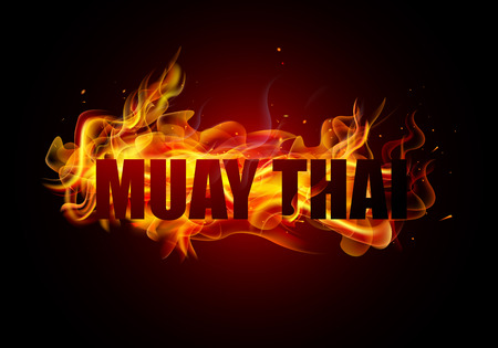 Thai kickboxing Muay Thai typography with fire Vector