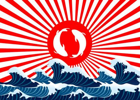 carp fish yin yang on red flag japanese with sea wave Illustration