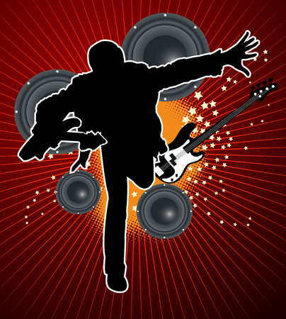 bass player: guitar player with speaker and bass on red background