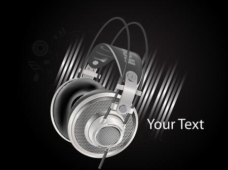 head phone: tel�fono de la cabeza con la nota sobre el fondo de metal negro