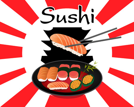 japanese food sushi set Vector