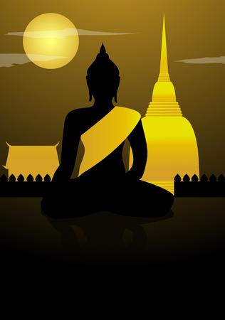 buddha image: Buddha statue and thailand temple with moon night background Illustration