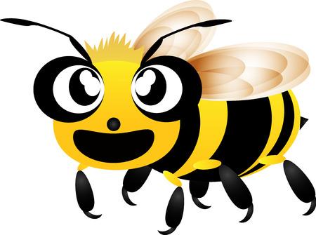 pollinate: Cute bee flying cartoon vector
