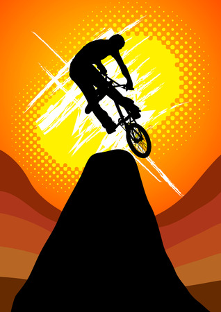 extreme bicycle jumping on the mountain Vector