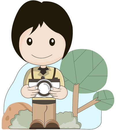 filming: photographer take a picture vector