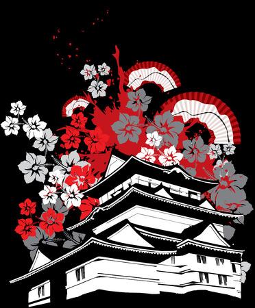 flor de sakura: símbolo de la pagoda de japón con flor de sakura y plegado vector ventilador