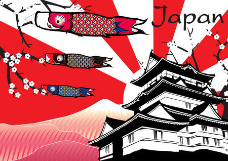 japonais: Château japonais avec drapeau et fuji poissons vecteur de montagne