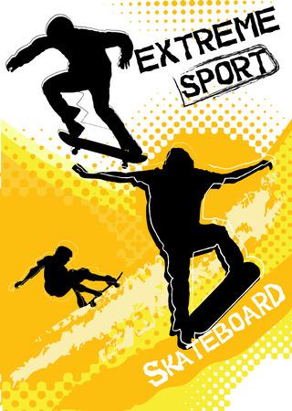 bg: skateboard sport on grunge background