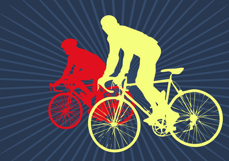 racer flag: couple bicycle on dark blue background
