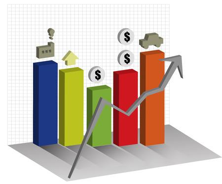 economies: �conomies graphe 3D Graphique tendance � la hausse