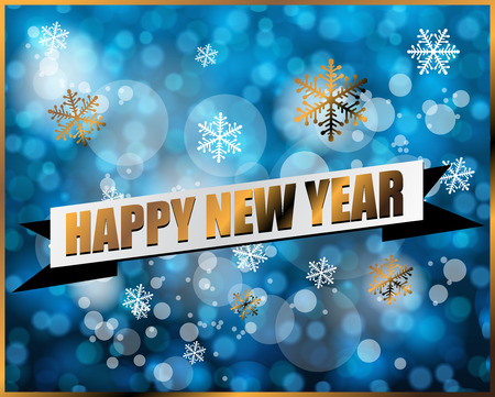 traditinal: Happy new year label on blue bokeh vector