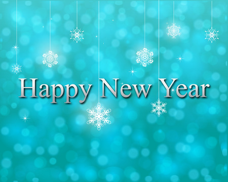 traditinal: happy new year on turquoise bokeh vector Illustration
