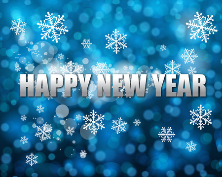 traditinal: happy new year Typography on blue bokeh vector