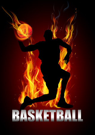 basketball ball on fire: basketball player is jumping to shooting ball fire vector
