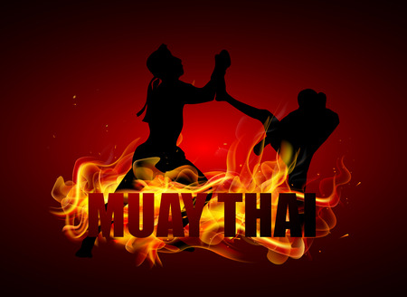 jab: Thai boxer are fighting in kicking postures vector
