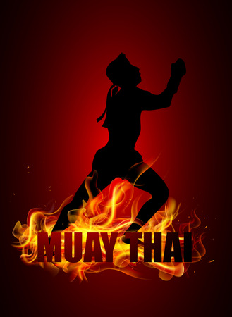 overhand: Thai boxer is standing in postures with muay thai fire typo