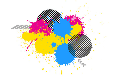 vector colorful splatter grunge white background
