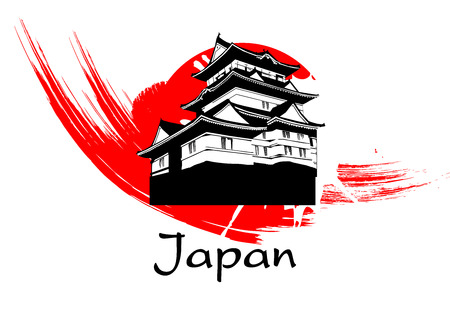 fuji mountain: Japanese Pagoda Paint with brush on white background vector