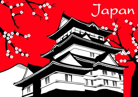 flor de sakura: Japonesa sakura pagoda pintura de flores sobre fondo rojo vector