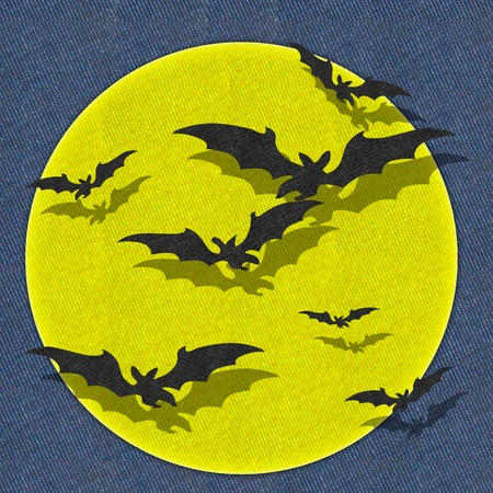 Halloween bat and full moon recycled fabric background photo