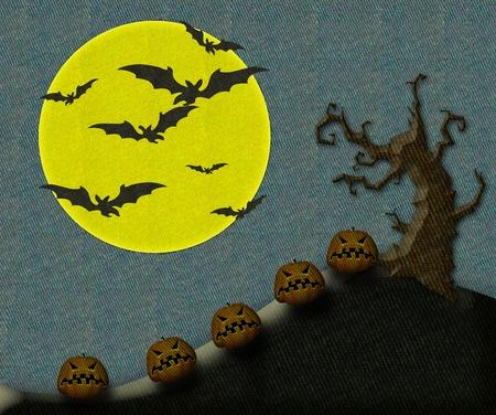 Halloween pumpkin at moon, bat and tree. Stock Photo - 10638547