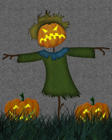 Abstract colorful background with  Halloween scarecrow. Halloween theme photo