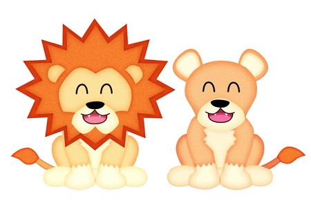 Applique  work in the form of lion from a fabric, isolated on white background  photo