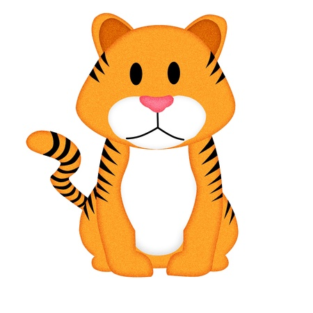 Applique  work in the form of tiger from a fabric, isolated on white background  photo